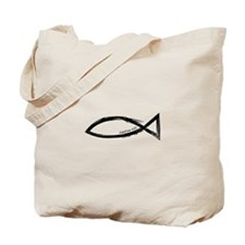 Ichthys (Jesus Fish) - Matthew 4:19 Tote Bag