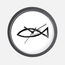 Ichthys (Jesus Fish) - Matthew 4:19 Wall Clock
