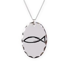 Ichthys (Jesus Fish) - Matthew 4:19 Necklace Oval