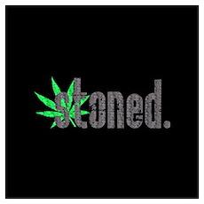 Vintage Stoned (Green Pot Leaf) Poster