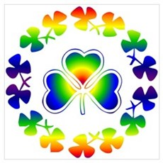 Clover Irish Rainbow Poster