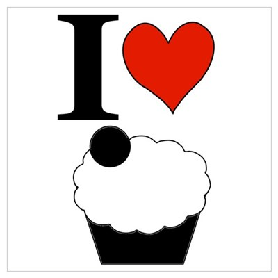 I Heart Cupcake Square Poster