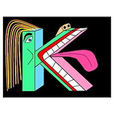 FACE OF THE LETTER 'K' Bluegr Poster