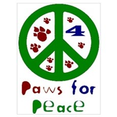 Paws For Peace Green Poster