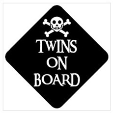 WARNING: TWINS ON BOARD Framed Print