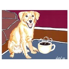 Golden Coffee Dog Poster