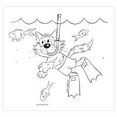 Snorkle Scuba Diving Cat Poster
