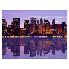Manhattan Cityscape Reflectio Poster