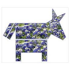 Texas Blue Donkey Poster