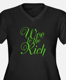 Woe to the Rich Women's Plus Size V-Neck Dark T-Sh