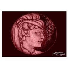 Margery cameo burgundy Poster
