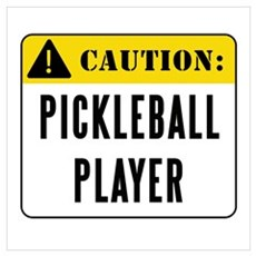 Caution Pickleball Player Canvas Art