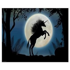 Moonlit Unicorn Poster