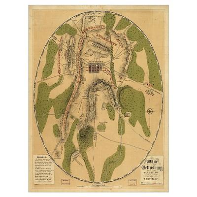 Gettysburg 1863 Civil War Map Poster