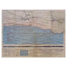 Omaha Beach D-Day Map Poster