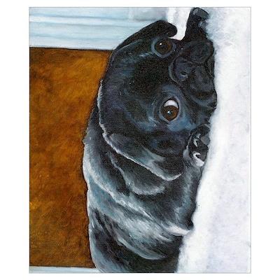 Resting Black Pug Puppy Poster