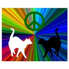 PEACE CATS GREEN Canvas Art