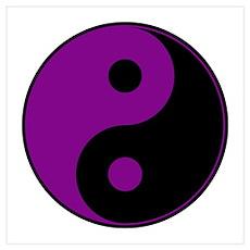 Purple-Black Yin Yang Poster