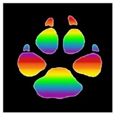 STRIPED RAINBOW BEAR PAW ON BLK Poster