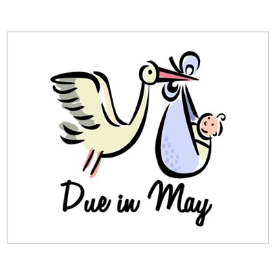 Due In May Stork Canvas Art