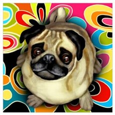 PUG DOG RETRO Canvas Art