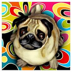 PUG DOG RETRO Poster