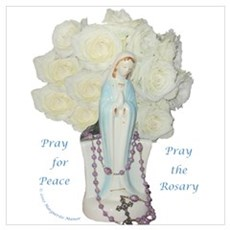 Mary with White Roses Poster