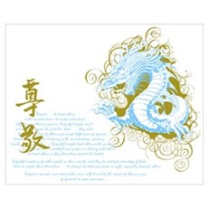 Respect -Chinese Dragon Blue Poster