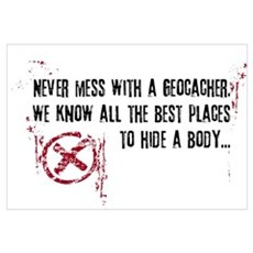 Geocaching - never mess dark red Framed Print