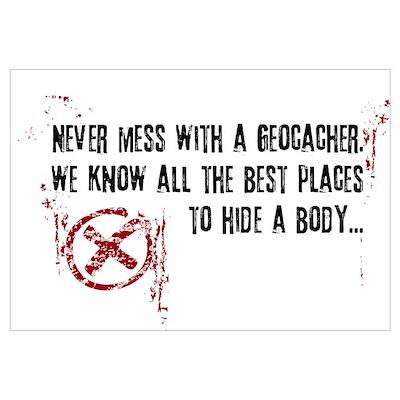 Geocaching - never mess dark red Poster