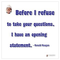 Reagan Opening statement Framed Print