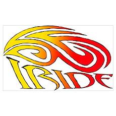 I Ride Tribal Bike Poster