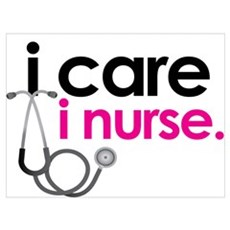 i care i nurse pink Canvas Art