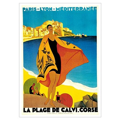 Vintage La Plage de Calvi 1928 Poster