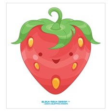 Kawaii Strawberry Canvas Art