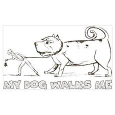 Funny Dog Walker Poster