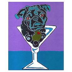 Black Pug Martini Poster