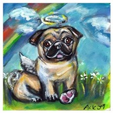 Pug angel dog with pink kon Poster