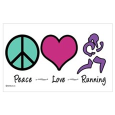 Peace- Love- Running Framed Print