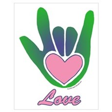 Green/Pink Love Hand Poster