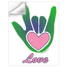 Green/Pink Love Hand Wall Decal