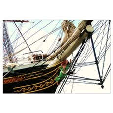 Wooden Ship's Bow Figure Canvas Art