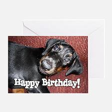 Happy Birthday - Doberman Puppy Greeting Card