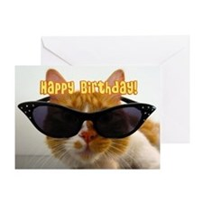 Happy Birthday - Cat in Sunglasses Greeting Card