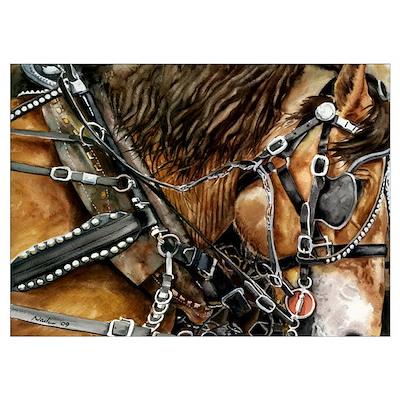Buckskin Draft Horse Poster