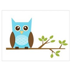 Blue Owl on Branch Poster