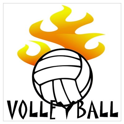 Volleyball with Flames Poster