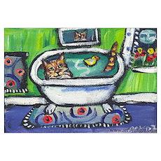 Tabby Cat bath Poster