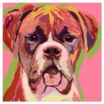 "Boxer Dog , Image Size 16x16"" Canvas Art"