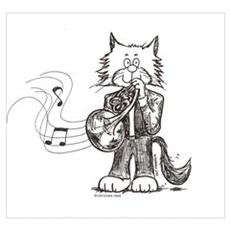 French Horn Cat Poster